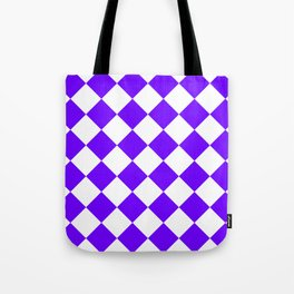 Large Diamonds - White and Indigo Violet Tote Bag