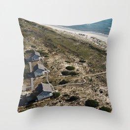 Captain Charlie's Station | Drone Photo | Bald Head Island, NC Throw Pillow