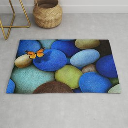 Gorgeous Fascinating Winged Insect Colorful Stones UHD Rug