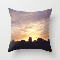 nashville Throw Pillows featuring Nashville Skyline by  Dreambox Designs