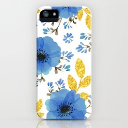 Blue flowers with golden leaves iPhone Case