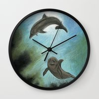 dolphins Wall Clocks featuring Dolphins by Savousepate