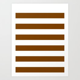 Horizontal Stripes - White and Chocolate Brown Art Print