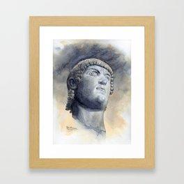 Constantine Bronze Head, watercolour Framed Art Print