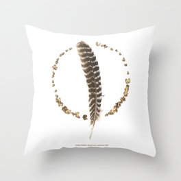 nature mandala... turkey feather, beechnuts, beechnut hulls Throw Pillow
