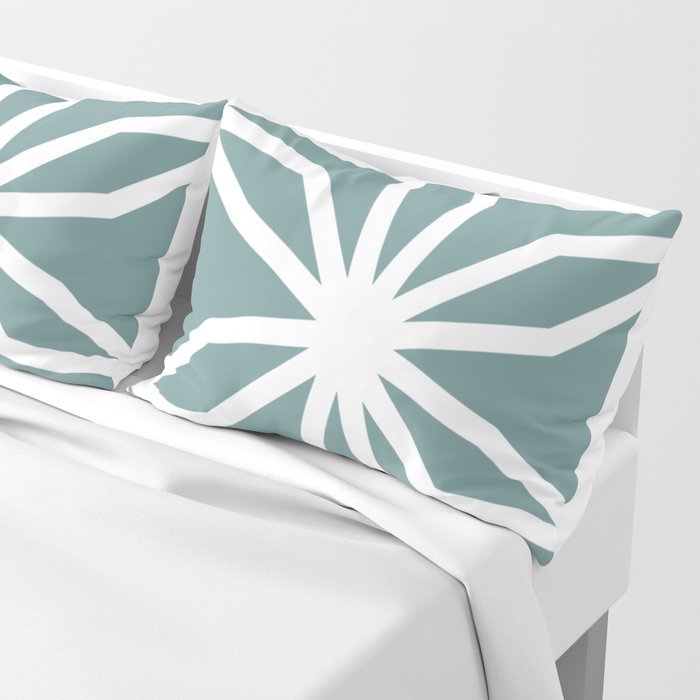 CUBIC FLOWER PATTERN - blue Pillow Sham