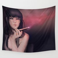erotic Wall Tapestries featuring Smokey Woman by Schwebewesen • Romina Lutz