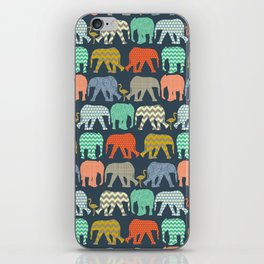 baby elephants and flamingos sienna iPhone Skin