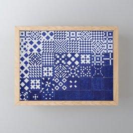 tile blue background Framed Mini Art Print
