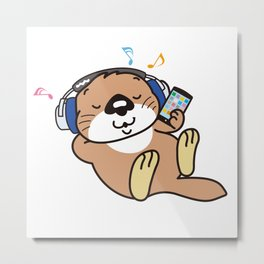 a sea otter listening to the music Metal Print