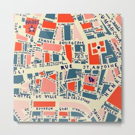 paris map blue Metal Print