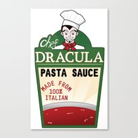 chef Canvas Prints featuring CHEF DRACULA by DROIDMONKEY