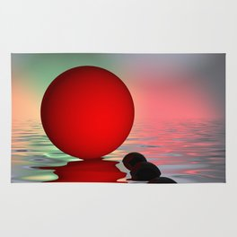 red and black on water Rug
