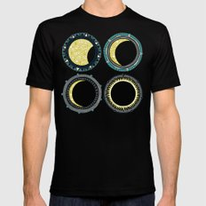 solar eclipse mandala orange Mens Fitted Tee Black MEDIUM