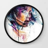 agnes Wall Clocks featuring sheets of colored glass by agnes-cecile