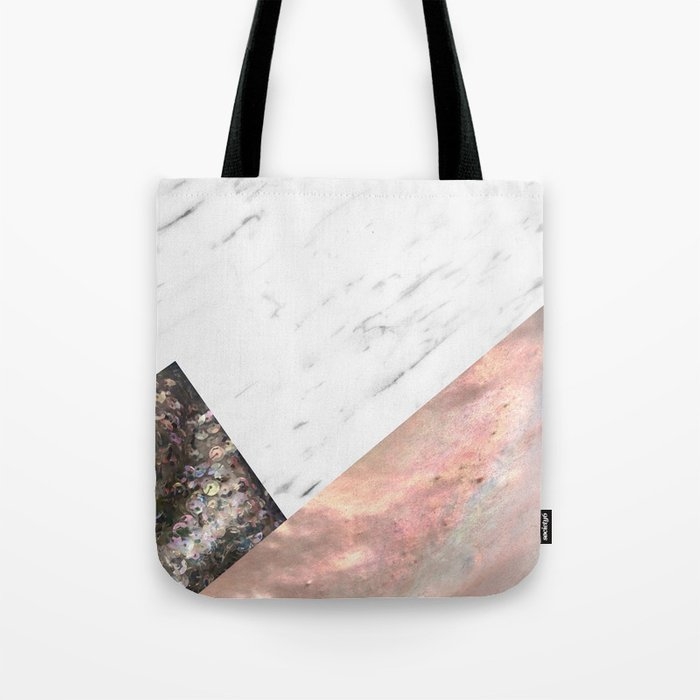 Marble with sequins and mother of pearl Tote Bag