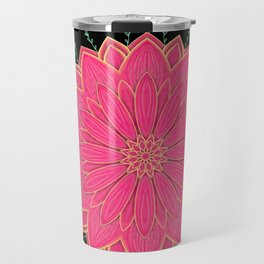 Project 520 | Pink Flowers on Black Travel Mug