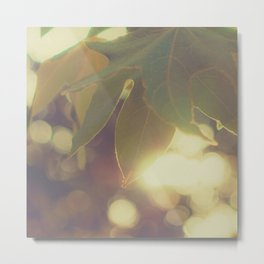 Green Leaf Bokeh Metal Print