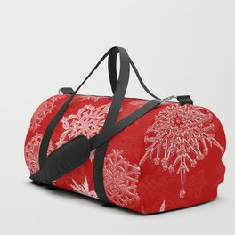 Snowflake Pattern (Red) Duffle Bag