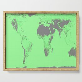 World Map : Gall Peters Seafoam Green Serving Tray