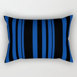 Black and blue striped . Rectangular Pillow