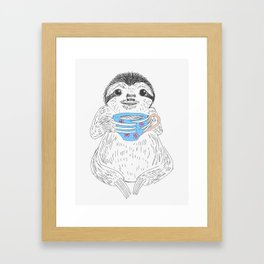 Tea Sloth Framed Art Print
