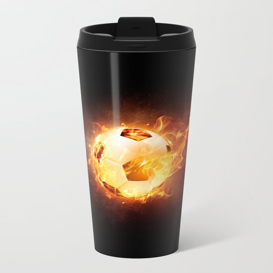 Football, Soccer Ball Metal Travel Mug