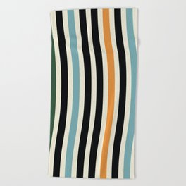 Raincore - Mid Century Modern Rainbow Retro Lines Abstract Pattern - Blue Yellow Green Red Black Beach Towel