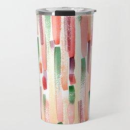 Abstract Colorful Watercolor Stripes Print Travel Mug