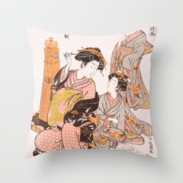 Courtesan Nanakoshi of the Ōgiya Brothel Throw Pillow