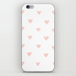 Pink hearts watercolor iPhone Skin