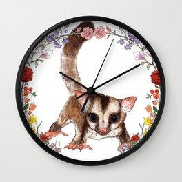 Sugar Glider in Flower Wreath Wall Clock