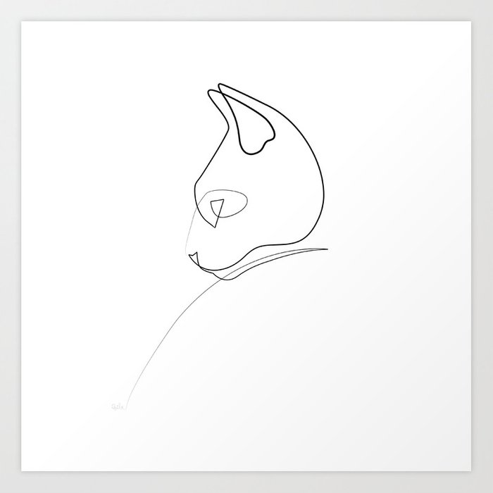 Single Line Chat Art : Oneline cat art print by quibe society