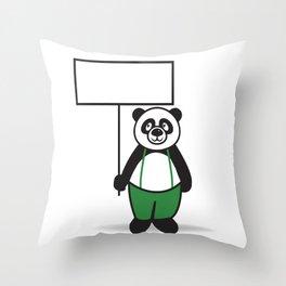 Panda Sign Throw Pillow