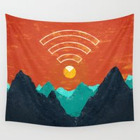 the office Wall Tapestries featuring OUT OF OFFICE by DANIEL COULMANN