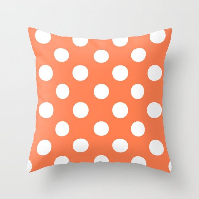 Polka Dots (White/Coral) Throw Pillow