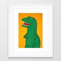 t rex Framed Art Prints featuring T-Rex by Yana Elkassova