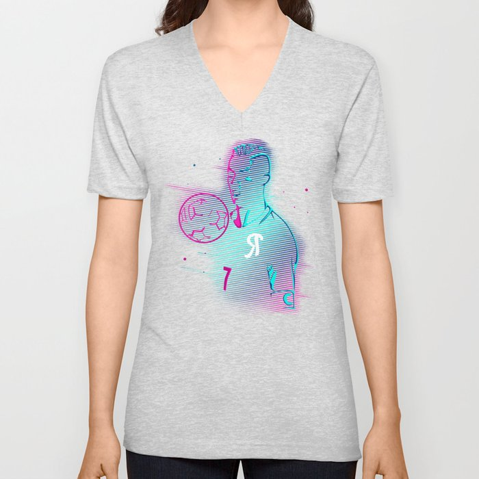 CR7 Glow Pink Blue Style Vector Art T-Shirt & Apparel Unisex V-Neck