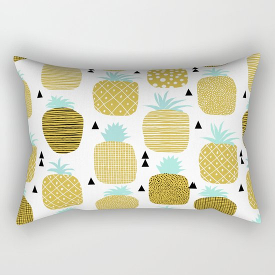 Pineapples triangles black and white minimal pattern tropical fruits print Rectangular Pillow