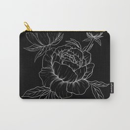 Peonies Line Art with Black Background  Carry-All Pouch