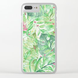 Hand painted watercolor green pink tropical leaves floral Clear iPhone Case