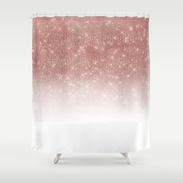 Girly Faux Rose Gold Sequin Glitter White Ombre Shower Curtain