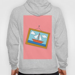 Scene from Moby Dick on pink Hoody