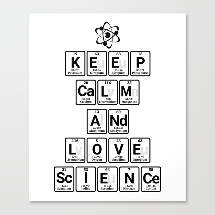 Keep Calm And Love Science Canvas Print By Teeign Society6