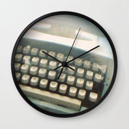 Blue Typewriter TTV Wall Clock