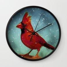 Cardinal snow Wall Clock