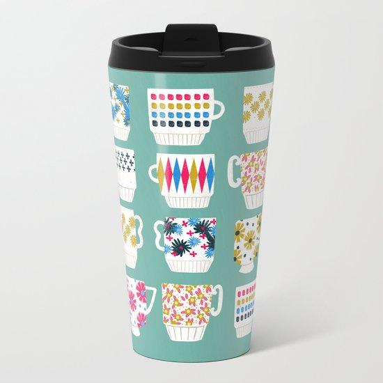 Vintage Teacups - Mid Century, Retro Teacups in pop colors by Andrea Lauren Metal Travel Mug