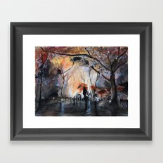 Watercolor painting - Autumn rain - Framed Art Print