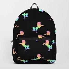 Rainbow Unicorn Pattern on Black Backpack