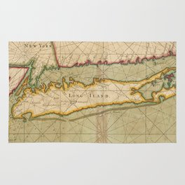 Vintage Map of Long Island NY (1702) Rug